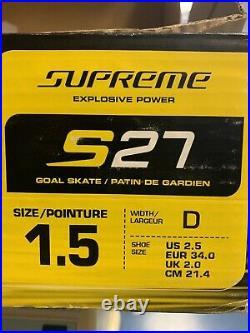 Bauer S27 Junior Goalie Skates Size 1.5