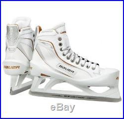 New Bauer One100LE Ice Hockey Goalie skates size 6.5D Senior white/gold men SR