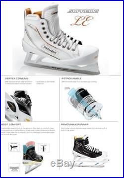 New Bauer One100LE Ice Hockey Goalie skates size 8.5D senior white/gold men SR