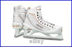 New Bauer One80LE Ice Hockey Goalie skates size 4D junior white/gold boys JR