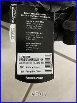 New! Bauer Supreme TotalOne MX3 Senior Hockey Gloves, 13 Inch, Black FREE SHIP