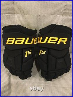 New VANCOUVER CANUCKS Bauer Supreme 1S Pro Stock Hockey Gloves BLACK SKATE 13